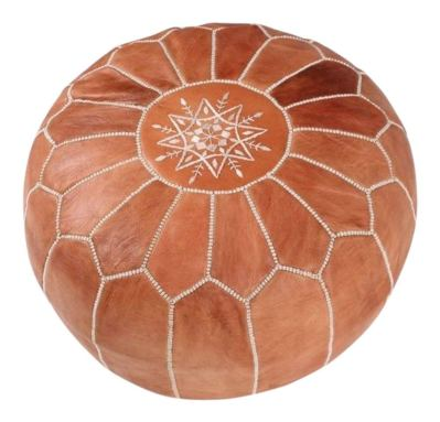maisonmarrakech Handmade Leather Footstool Marrakech Tan Brown with White Stitching Unstuffed
