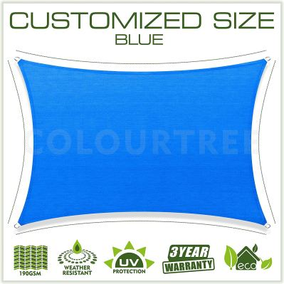 ColourTree Customized Size  Blue Sun Shade Sail Canopy