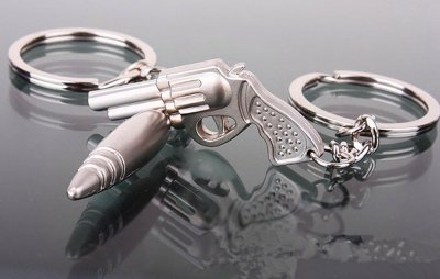 2 4EVER Cool Stainless Alloy Metal Silver Bullet & Gun Couple Keychain Gift Boxed Weapon Sweetheart Pendant Lovers Key Ring Key Chain
