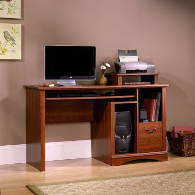 2 Sauder Camden County Computer Desk, Planked Cherry Finish