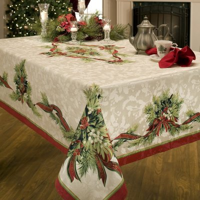 8 Benson Mills Christmas Ribbons Engineered Printed Fabric Tablecloth