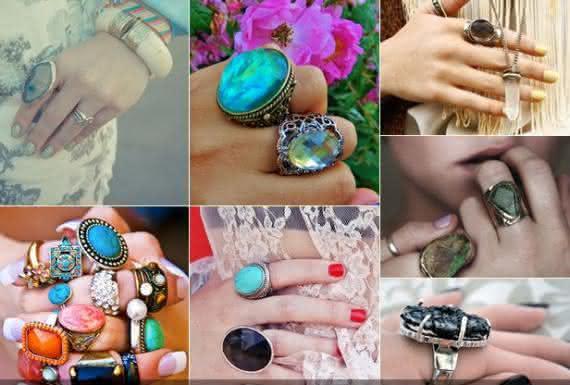 Varias cores de pedras