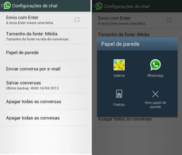 alterar mudar papel de parede whatsapp