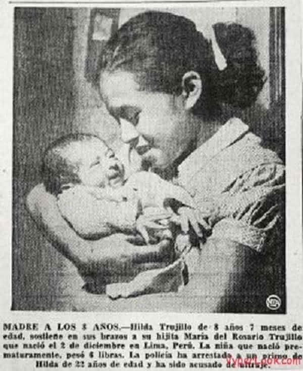 Hilda Trujillo mais jovem a engravidar