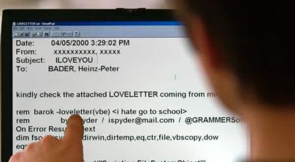 iloveyou virus mais mortais para computadores