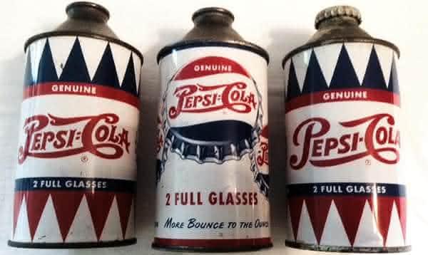 3 Latas Vintage Pepsi-Cola da Decada de 1950 entre os refrigerantes mais caros do mundo