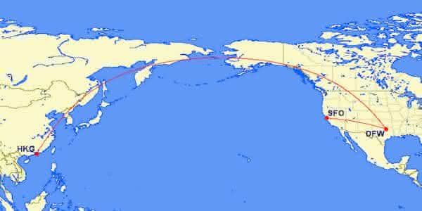 Dallas DFW Hong Kong HKG entre os voos mais longos do mundo