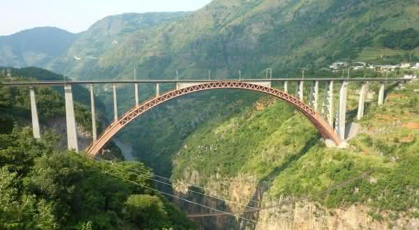 Ponte Ferroviaria do Rio Beipanjiang entre as pontes mais altas do mundo