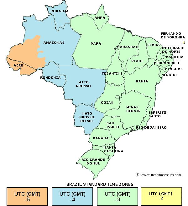 brasil entre os paises com maior numero de fusos horarios do mundo