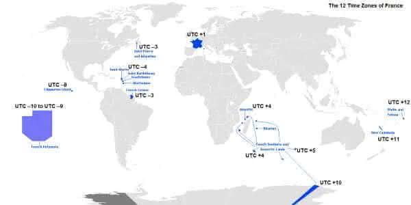 franca entre os paises com maior numero de fusos horarios do mundo