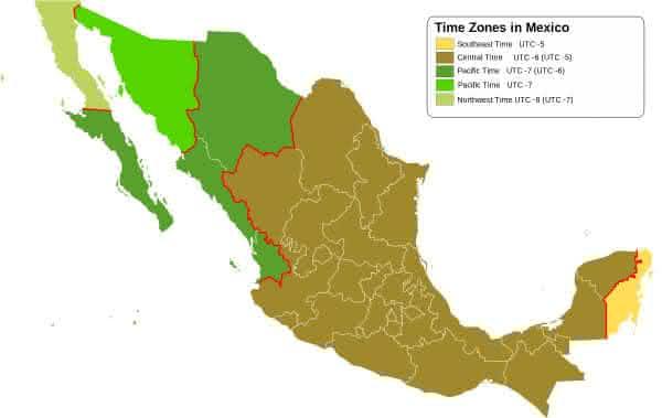 mexico entre os paises com maior numero de fusos horarios do mundo