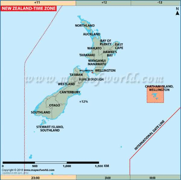 nova zelandia entre os paises com maior numero de fusos horarios do mundo