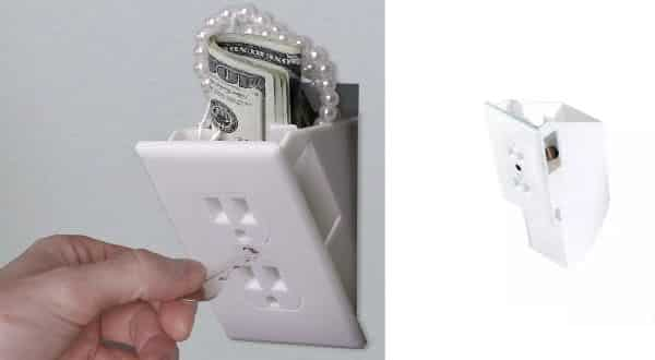 tomadas entre os lugares seguros para esconder objetos de valor em sua casa