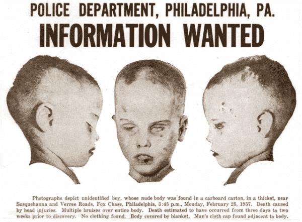 menino desconhecido entre os chocantes casos de assassinatos misteriosos