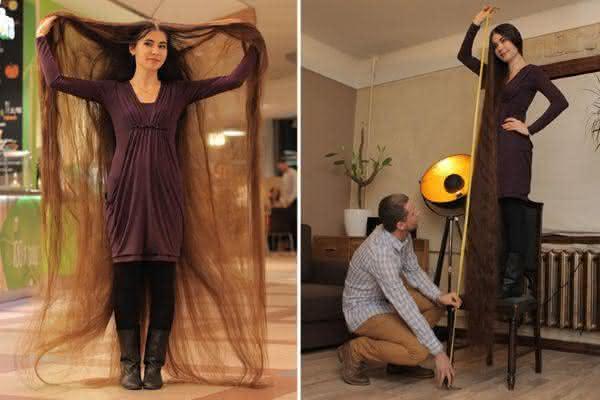 Aliia Nasyrova entre os cabelos mais longos do mundo