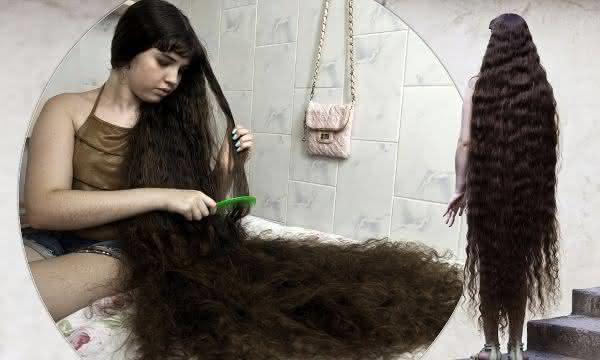 Natasha Moraes de Andrade entre os cabelos mais longos do mundo