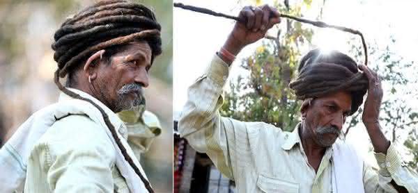 Savjibhai Rathwa 2 entre os cabelos mais longos do mundo