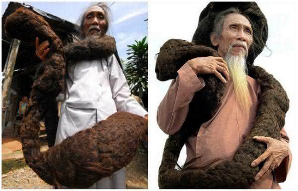 Tran Van Hay entre os cabelos mais longos do mundo