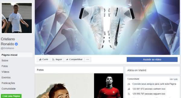 cristiano ronaldo entre as paginas mais populares do facebook