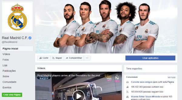 real madrid entre as paginas mais populares do facebook