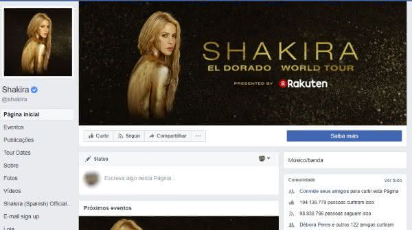 shakira entre as paginas mais populares do facebook