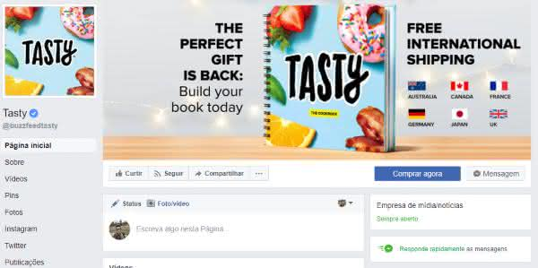 tasty entre as maiores paginas do facebook
