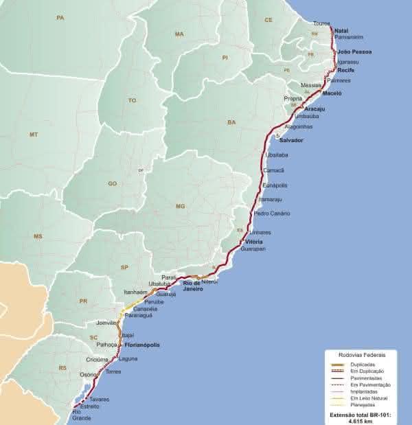 BR-101 entre as rodovias mais longas do brasil