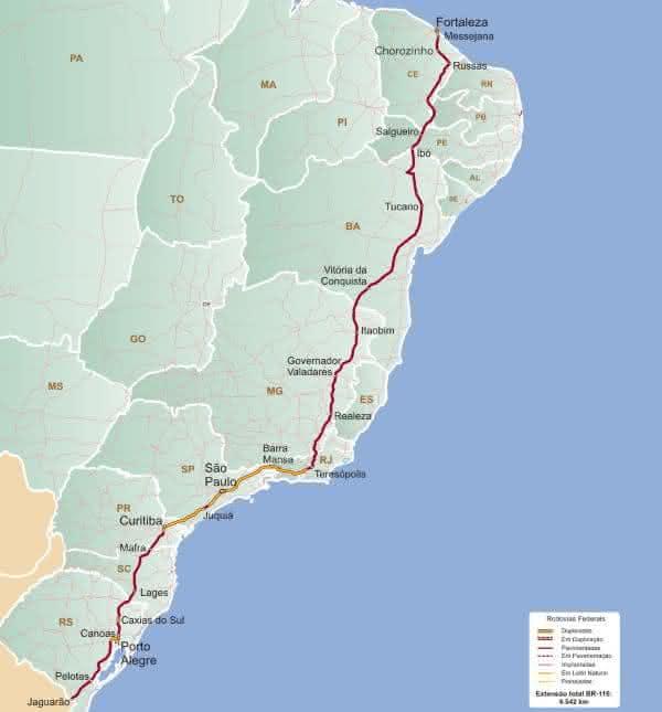 BR-116 entre as rodovias mais longas do brasil
