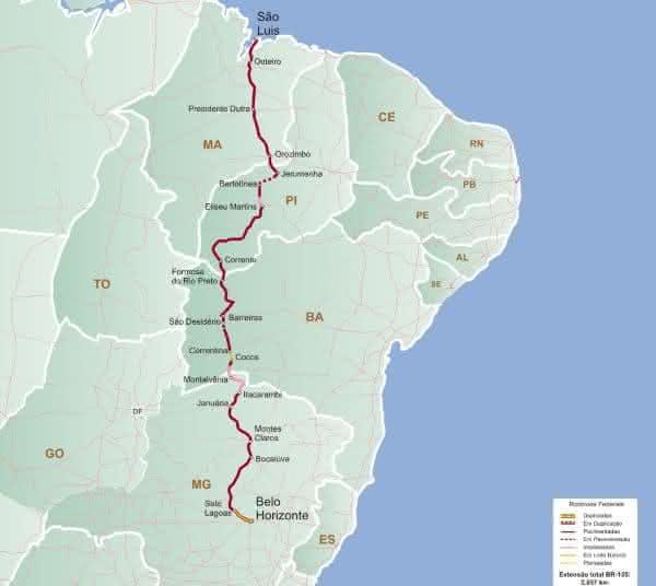 BR-135 entre as maiores rodovias do brasil