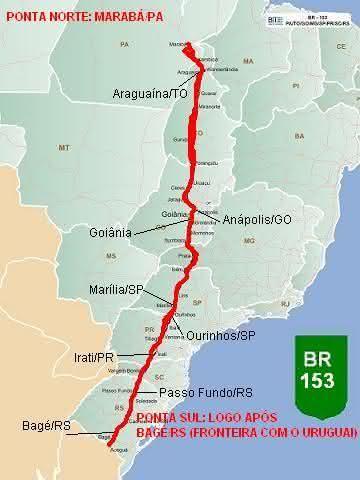 BR-153 entre as rodovias mais longas do brasil