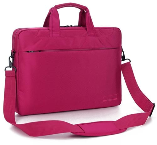 BRINCH-15.6-Inch-Oxford-Fabric-Lightweight-Laptop-Shoulder-Case-Messenger-Bag-For-15---15.6-Inch-Laptop---Notebook---MacBook---Chromebook-Computers-with-Shoulder-Strap-Handle-and-Pockets-(Pink)