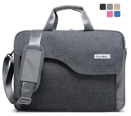 CoolBell(TM)15.6-Inch-Nylon-Laptop-Bag-Shoulder-Bag-With-Strap-Multicompartment-Messenger-Hand-Bag-Tablet-Briefcase-For-iPad-Pro-laptop-Macbook-Ultrabook-Men-Women-College-Grey