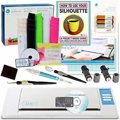 Silhouette-Cameo-Bundle-with-Vinyl-Starter-Kit,-2-Cutting-Blades,-Pixscan-Mat,-Metallic-Pens