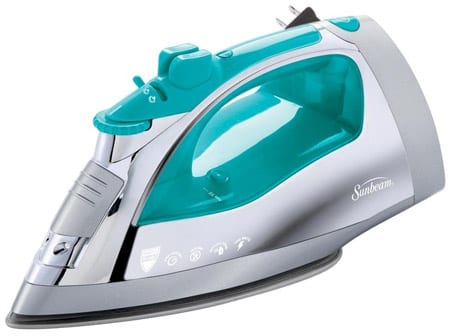 Sunbeam-Steam-Master-1400-Watt-Large-size-Anti-Drip-Non-Stick-Stainless-Steel-Soleplate-Iron-with-Variable-Steam-control-and-8'-Retractable-Cord,-Chrome-Teal,-GCSBSP-201-000