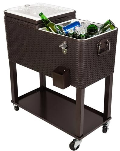 HIO-80-Qt-Outdoor-Patio-Cooler-Table-On-Wheels,-Rolling-Cooler-With-Shelf,-Dark-Brown-Wicker