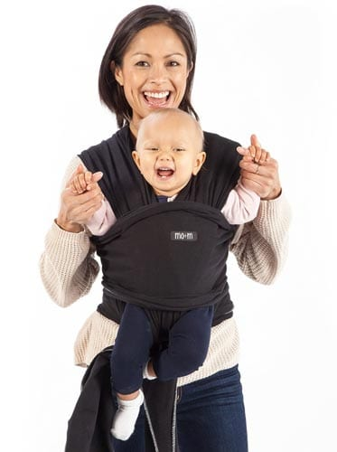 Mo+m-Baby-Wrap-(Black)---Ultra-Soft-Infant-Sling-Child-Carrier-Keeps-Your-Baby-Comfortable-&-Safe---4-Different-Carries