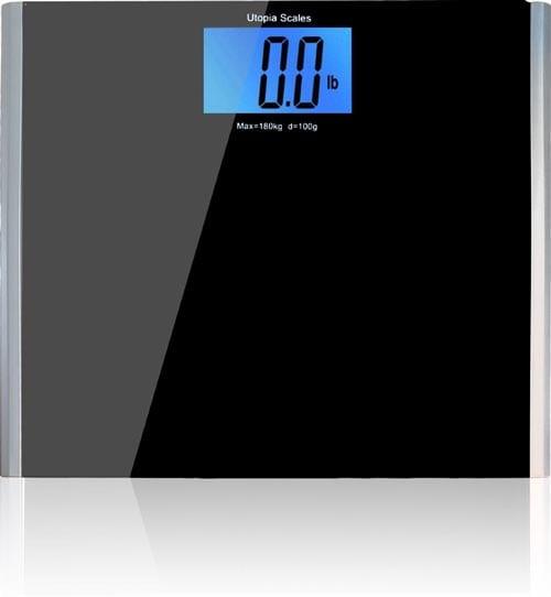 Wide-Platform-Digital-Glass-Bathroom-Scale-Black---Holds-up-to-400-lbs