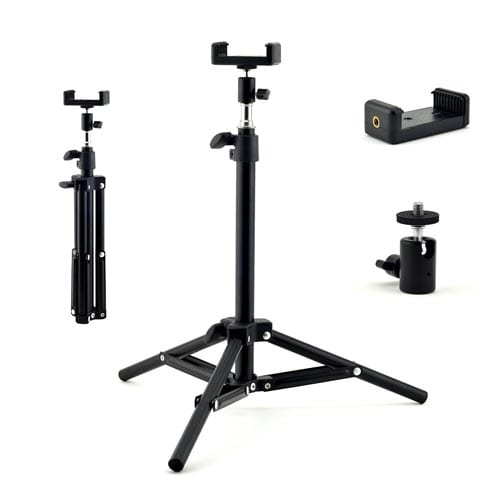 Extendable-Tripod-Stand-with-Cell-Phone-Mount-Bracket-&-Swivel-Ball-Head