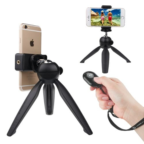 Universal-Wireless-Selfie-Kit-with-Bluetooth-Remote-Control-and-Premium-Tripod---Handsfree-Control-of-Camera-Shutter-from-a-Distance-of-up-to-30-feet---Suitable-for-iOS-and-Android-Smartphones
