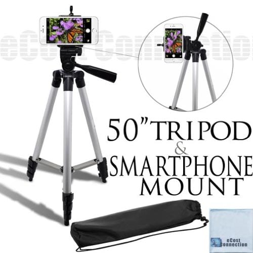 eCostConnection-50Inch-Aluminum-Camera-Tripod-with-Universal-Smartphone-Mount-for-ALL-Smartphones-+-an-eCostConnection-Microfiber-Cloth