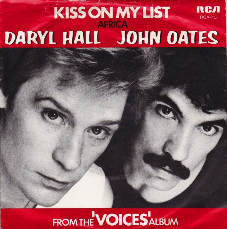 Daryl Hall and John Oates Kiss on My List record cover