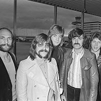 The Moody Blues arrive at Amsterdam's Schiphol Airport, in the Netherlands, October 1970