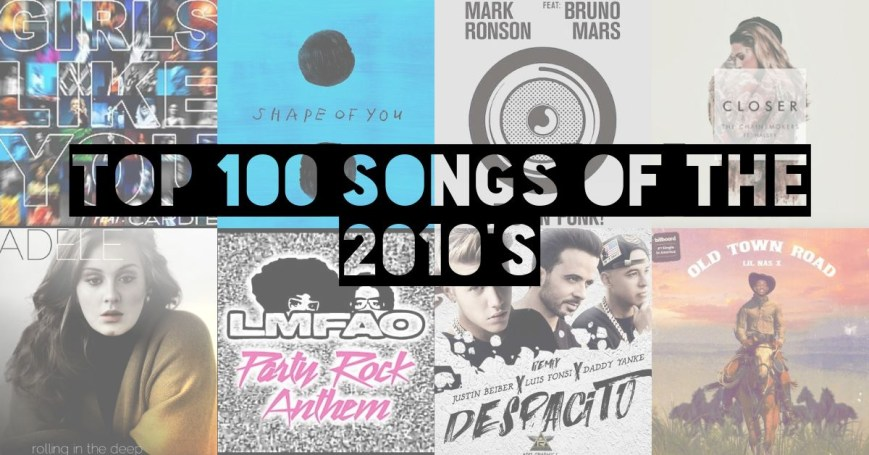 Collage of the top 100 songs of the 2010s