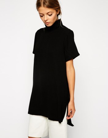 longline high neck tunic top