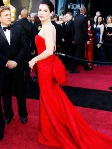 sandra bullock red dress