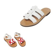 preekka white leather eros slide sandals