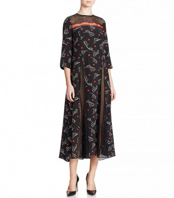 suno printed ribbon godet dress 795$