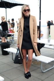camel coat plus loafers