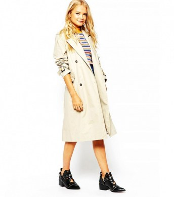 monki double breasted trench coat