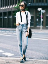 white blouse with scarf